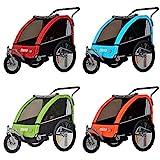 Tiggo Convertible Jogger Remorque à Vélo 2 en 1 pour Enfants avec Suspension BT605 (Rouge)