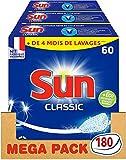 Sun Tablettes Lave-Vaisselle Classic, Fabriqué en France, Economie d'eau et d'électricité, 180 Lavages (Lot de 3x60 Lavages)