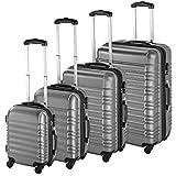 TecTake Set de 4 valises de Voyage de ABS avec Serrure à Combinaison intégrée   poignée télescopique   roulettes 360° - diverses Couleurs au Choix - (Argent   no. 402025)