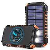 Hiluckey Chargeur Solaire 26800mAh avec 4 USB Portable Batterie Externe sans Fil Powerbank avec Charge Rapide USB C pour Smartphones, Tablette, Outdoor Camping (Orange)
