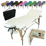 Linxor France ® Table de massage pliante 3 zones en bois avec panneau Reiki + accessoires et housse de transport, Blanc