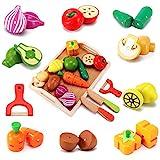 CARLORBO Jouet Cuisine en Bois Nourriture pour Enfants - Aliments Cuisine Couper Les Fruits et légumes, Jouets d'apprentissageCadeau pour Les Enfants