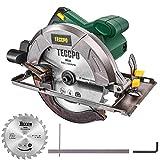 TECCPO Professional Scie Circulaire lectrique, 1200W, 5800 tr/min, Avec Lame de 185mm, 24 Dents, Profondeur de Coupe 63mm (90 ), 45mm (45 ) - TACS22P