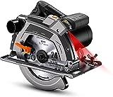Scie Circulaire 1500 W, Scie Circulaire électrique 5000 tr/min, Scie Circulaire à Bois Avec Laser, 2 Lames 190mm/24T et 185mm/40T, Protection en Aluminium