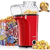 Machine à Pop Corn, AICOOK 1400W Retro Popcorn Machine, 16Cups Grande Capacité, Air Chaud Sans Gras Huile, Sans BPA, Rouge