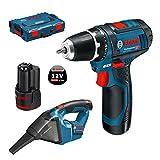 Bosch Professional Perceuse-visseuse Sans Fil GSR 12-2-LI + Aspirateur GAS 12V-LI 15 (2 batterie 2,0Ah 12 V, 1 chargeur, mandrin de 10mm, L-BOXX)