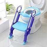 Siège de Toilette Enfant Pliable et Réglable, Réducteur de Toilette Bébé avec Marches Larges, Entraîneur de Toilette pour Enfants avec Echelle 38-42cm, Matériaux de Haute Qualité et Confortable, Bleu