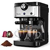 Sboly Machine à Expresso, Machine à Café 2 en 1 pour Café Moulu et Capsule Compatible Nespresso, Machine à Expresso 19 Bars avec Buse à Vapeur de Lait pour Cappuccino et Café Latte