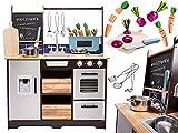 Cuisine pour enfant en bois, cuisine de jeu en bois, évier, four et hotte aspirante (modèle 4)
