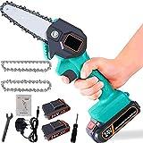 No-Branded Mini scie électrique Mini-Scie électrique Portable sans Fil Chainsaw avec Chargeur et 2 Batteries 2 chaînes électriques élaguer (Color : Vert, Size : Libre)