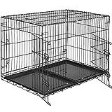 TecTake Cage de Transport pour Chien-Box grillagé | 2 Grandes Portes équipées de verrous | Pliant - diverses Tailles au Choix (106 x 70 x 76 cm | no. 402296)